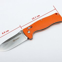 New Coming G720-O Folding Knife Oange G10 Handle 440C Blade Clip Window Breaker (Orange)