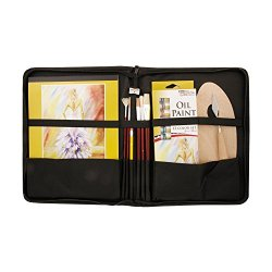 """Us Art Supply® 23 Piece Oil Painting Set With 12-Tubes Of Oil Artist Paint, 5 Assorted Paint Brushes, 9"""" X 12"""" Oil Painting Paper Pad, Palette Knife, Hb Pencil, Sharpener & Wood Palette. All In A Nice Zippered Portfolio Case."""