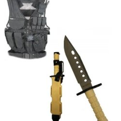 Ultimate Arms Gear Stealth Black Lightweight Edition Tactical Scenario Military-Hunting Assault Vest W/ Right Handed Quick Draw Pistol Holster + Tan Lightweight Cut Stainless Steel M9 M-9 Military Survival Blade Bayonet Knife With Tactical Sheath Scabbard