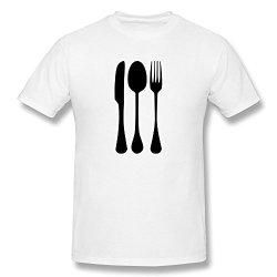 Fork Knife Spoon Classic O-Neck White Shirt For Men Size S