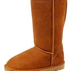 Milanao Women'S Casual Thicken Fluff Knee High Boot(Chestnut,8)