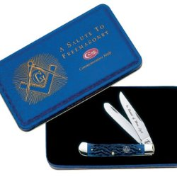 Case Cutlery 1058 Case Masonic Trapper Pocket Knife With Stainless Steel Blades Gift Tin   Blue Bone