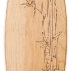 J.K. Adams 10-Inch-By-4-Inch Engraved Maple Wood Plate, Bamboo Stalks