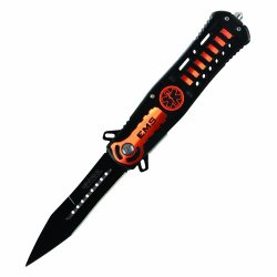 Ems Wartech Drop Point Spring Assisted Knife With Glass Breaker Yc-S-7005-Or