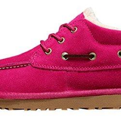 Milanao Unisex Women Warm Pure Color Cotton Shoelace Windproof Snow Boots(Lover Shoes)(8 B(M)Us,Pink)