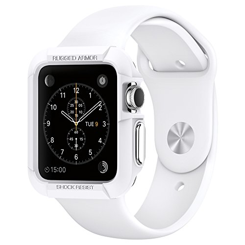 Apple-Watch-Case-Spigen-Resilient-Apple-Watch-38mm-Case-Impact-Protection-NEW-Rugged-Armor-White-Include-2-Screen-Protectors-Ultimate-protection-from-drops-and-impacts-for-Apple-Watch-38mm-2015-White-