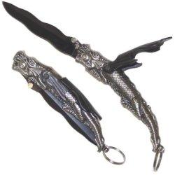 New Silver & Black Dragon Pocket Knife / Opener Fm557B