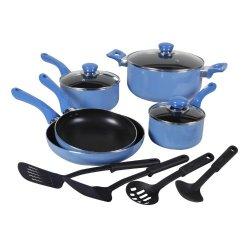 Gibson Colorsplash Everton 12-Piece Cookware Set, Blue