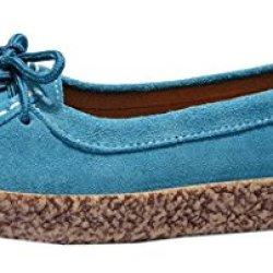 Index Women'S Dull Polish Suede Lace-Up Flattie Shoes (8 B(M) Us, Blue)