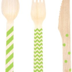 Dress My Cupcake Stamped Wooden Cutlery Set, Chevron/Striped/Polka Dot, Kiwi Green, 18-Pack