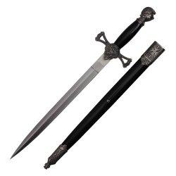 23.5 Inch Scrimshaw Designed Dagger With Black Scabbard H-5914
