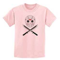 Scary Mask With Machete - Halloween Childrens T-Shirt - Pale Pink - Small