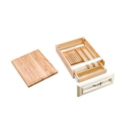 Rev-A-Shelf 4Kcb-21 4Kcb Series Combination Knife Holder And Cutting Board For 2, Natural Wood