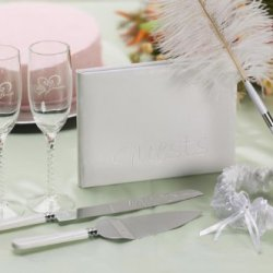 Darice Vl2000, Bridal Gift Set, Pen Glass Garter Book Knife And Server, 8-Piece