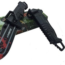 Z - Hunter With Red Splash Logo On Blade Black Stainless Steel Blade Knife - Chainsaw Handle Bar