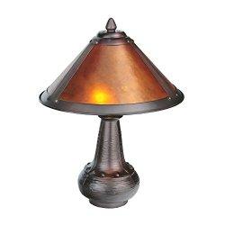 """Meyda Home Indoor Bedroom Decorative 14""""H Van Erp Amber Mica Accent Lamp"""