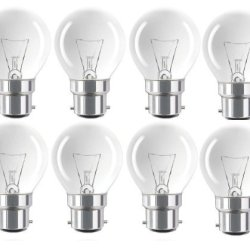 Eveready 8 X Golf Ball Bulbs 60W Classic Mini Globes, Bc/B22 (Bayonet Cap) Clear Round Light Bulbs, Incandescent Dimmable Lamps, 640-660 Lumen, Mains 240V - [Eu Specification: 220-240V]