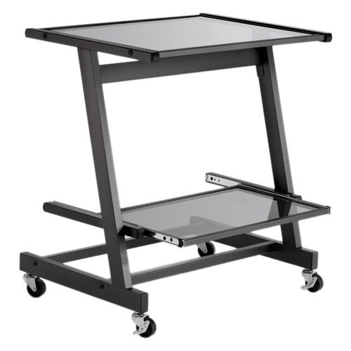 Picture of Comfortable Zeus Computer Cart (Graphite Black/Smoked Glass) (28.74