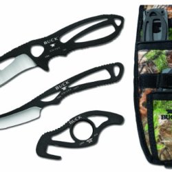 Buck Knives 141 Black Packlite Field Master Kit With Skinner, Caper And Guthook And Realtree Xtra Sheath