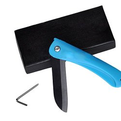 Miraclekoo 3.2 Inch Ceramic Folding Utility Pocket Knife With A Screwdriver, Black Blade , Gift Packaging (Blue)