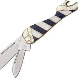 Colt Blue Ribbon Series Small Folding Leg Knife, 3.25In, Stainless Clip Kc023 Blue/White Stripe