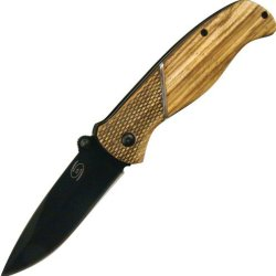 Frost Cutlery & Knives Hur004 Category 2 Hurricane Linerlock Knife With Zebra Wood Handles