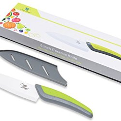 "Savvy Living Nanorazor 6"" Professional Ceramic Chef'S Knife (8 Inch And 3 Inch Also Available) - The Most Durable Ceramic Blade On The Market - Vegetable And Fruit Cutlery Choice By Many Professional Chefs - Thoughtful Gift For All Occasions (White)"