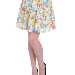 Anna-Kaci Women'S Water Colors Style Floral Print Skirt