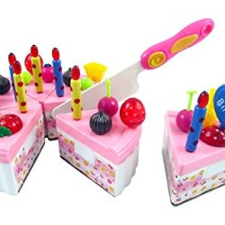 Birthday Cake Children'S Pretend Play Toy Food Set With Cutting Knife, Candles & Toppers