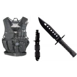Ultimate Arms Gear Stealth Black Lightweight Edition Tactical Scenario Military-Hunting Assault Vest W/ Right Handed Quick Draw Pistol Holster + Stealth Black Stainless Steel M9 M-9 Military Survival Blade Bayonet Knife With Tactical Sheath Scabbard