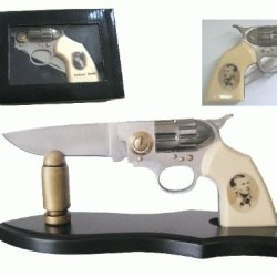 Legend Of The American Outlaw Jesse Woodson James Straight Shooter Pocket Gun Revolver Folding Knife