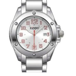 Zippo Dress Silver Sunray Watch With Stainless Steel Bracelet