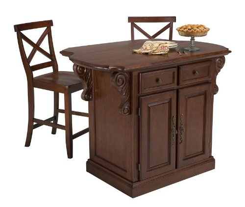 Image of 3pc Kitchen Island and Stools Set in Cherry Finish (VF_HY-5005-948)