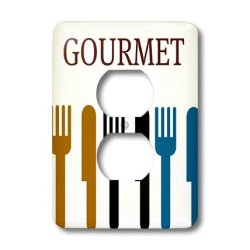 Lsp_44687_6 Patricia Sanders Creations - Gourmet Fork And Knife- Dining- Dinner Art - Light Switch Covers - 2 Plug Outlet Cover