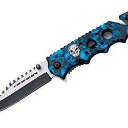 "Se-957Blsc "" Zombie Estnxmdtbi "" Skull Nxixhj Handle Action Assist Knife Blue Skull Camo Ghkdiwiy 2334Rtyui Gbh Zombie Skull Handle Action Assist Knife. 2 Tone Y8Twwmq 440 Stainless Steel Half Serrated Blade. Skull Coated Handle With Idrdde Clip 4.5"" Clos"