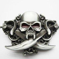 Belt Buckle Vintage Knives Diamond Skull