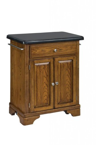 Image of Kitchen Cart with Black Granite Top in Oak Finish (VF_HY-9003-0064)