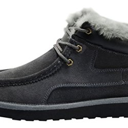 Rock Me Men'S Thicker Wool Leather Flat Waterproof Ankle Snow Boots Iii (9.5 D(M) Us, Gray)