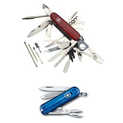 Victorinox Swiss Army Swisschamp Xlt (Trans. Ruby) Multi-Tool With Victorinox Swiss Army Classic Sd (Trans. Sapphire) Pocket Knife