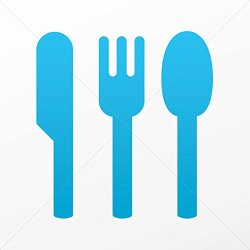 Decal Stickers Spoon Fork Knife Decorative Motorbike Bicycle Vehicle A Blue (3 X 2.82 In)