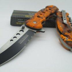 Tac-Force Assisted Opening Linerlock Belt Clip Orange Camo Design A/O Speed Rescue Glass Breaker Knife / Tf-498-Oc