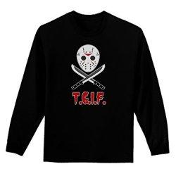 Scary Mask With Machete - Tgif Adult Long Sleeve Dark T-Shirt - Black - Small