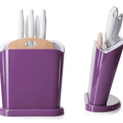 Omada Trendy Set Of 5 Knives With Block   - Plum