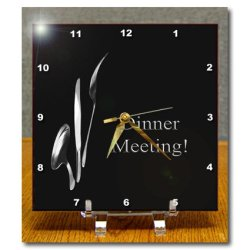 Dc_43330_1 Beverly Turner Business Design - Dinner Meeting, Spoon Knife And Fork On Black, Business - Desk Clocks - 6X6 Desk Clock