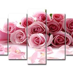 Pink 5 Piece Wall Art Painting Pink Roses Pictures Prints On Canvas Flower The Picture Decor Oil For Home Modern Decoration Print For Bedroom