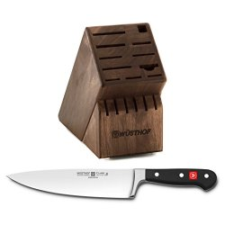 Wusthof Walnut 17 Slot Knife Block With Classic High Carbon Stainless Steel 8 Inch Cook'S Knife