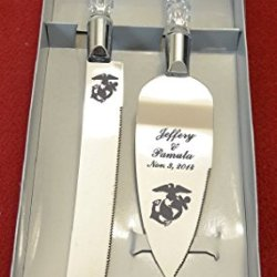 Military Marine Engraved Wedding Cake Knife / Server Set Names And Date Free !