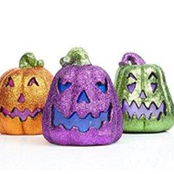 Halloween Color-Changing Set Of 3 Led Glitter Pumpkins