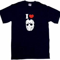I Heart Love Jason Hockey Mask Kids Tee Shirt Youth Large-Black