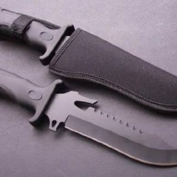 Fixed Blade Military Bad Ass Rambo Hunting Knife + Metal Butt